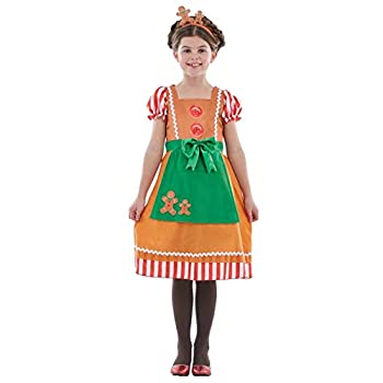 Kids Gingerbread Man Costume Childrens Christmas Party Dress Xmas Outfit - Large
