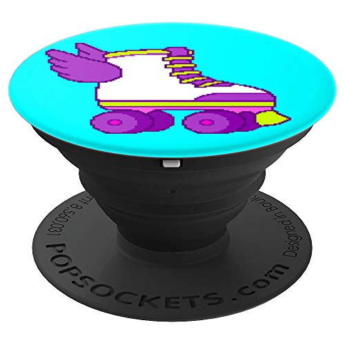 Cute Gamer Girl 8-Bit Roller Skates Video Game Gift Teal PopSockets Grip and Stand for Phones and Tablets