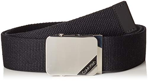 Calvin Klein Men's 4cm Adj. Webbing Plaque Belt, Black...