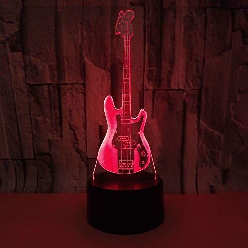 Luz de noche LED 3D para guitarra eléctrica, 7 colores, con