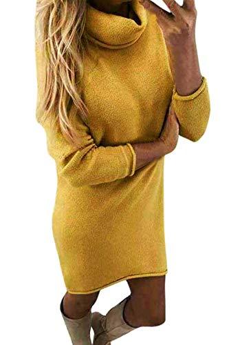 Yidarton Winter Damen Pullover Sweater Strickkleid Warm Elegant Langarm Strickpullover Lang (Small, Z-Gelb)