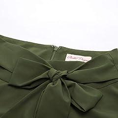 Belle Poque Vintage 1950s Elegant Solid Color High Waist Plain Tea Skirts for Womens Dark Olive Green(561-15) Large #4