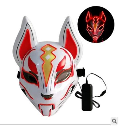 NKJBUVT Fox Maske Neon Line Halloween Kostüm Requisiten Maske Glowing Induction Drift Mask Controller Flash Mit Musik Für Party Cosplay (Grün) @Red