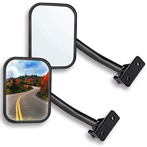 Monland Espejo de Puerta para Tj Jk 4X4 Espejo Todoterreno Espejos Rectangulares Espejo de Vista Lateral, Paquete de 2