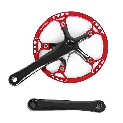 Dioche Speed Kurbelgarnitur, Fahrrad Kurbelgarnitur 170mm Fahrrad Kettenblatt Kettenblatt 45T 47T(Schwarz + Rot 47T)