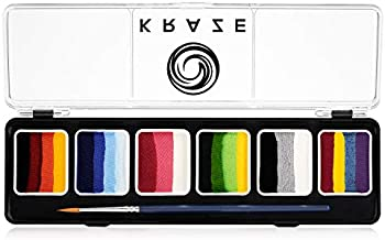 Kraze FX Splash 6 Color Split Cake Palette (6 gm) with Brush - Water Activated, Hypoallergenic, Safe, Non-Toxic Face Painting Kit for Sensitive Skin, Kids & Adults