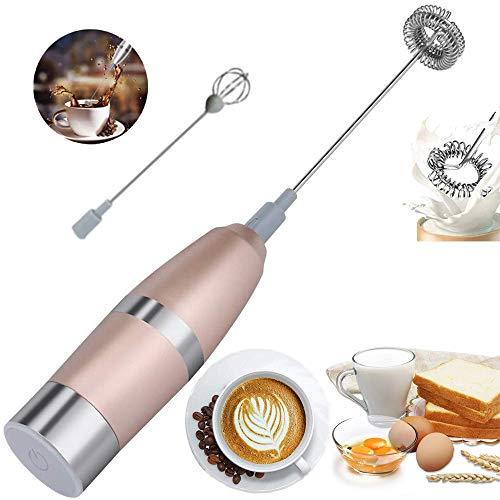 Elektrischer Milchaufschäumer Batteriebetrieben Manuell Mixer Edelstahl Schneebesen Milchschaum Maschine Langlebiger Schneebesen Getränke für Kaffee,Latte,Cappuccino