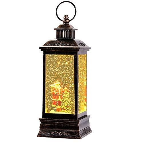 Bonbell Lanterna di Natale, Lanterna Musicale a LED con Globo di Neve di Natale, per la Decorazione Domestica, Presa USB o alimentata a Batteria