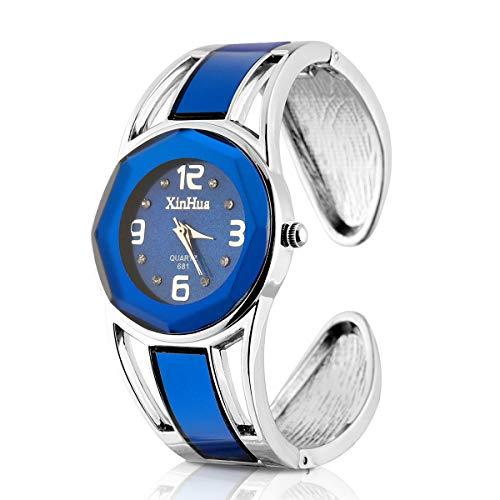 ele ELEOPTION Armband Design Quarz Uhr mit Strass Dial-Edelstahl-Band für Frauen (Dunkelblau)