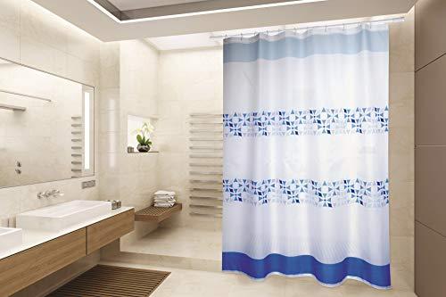 """Cotexsa by MSV Premium Anti-Schimmel Textil Duschvorhang - Anti-Bakteriell, waschbar, 100% wasserdicht, mit 12 Duschvorhangringen - Polyester, """"Porto"""" Weiß Blau 180x200cm – Made in Spain"""