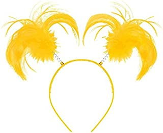 Amscan 399414.09 Tinsel Wrapped Ponytails Headbopper Accessory, Yellow, One Size Party Hats
