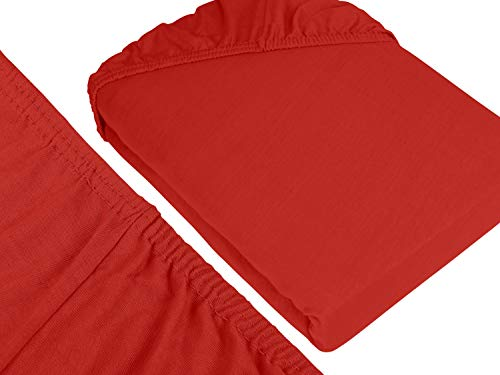 #12 npluseins Kinder-Spannbettlaken, Spannbetttuch, Bettlaken, 70×140 cm, Rot - 3