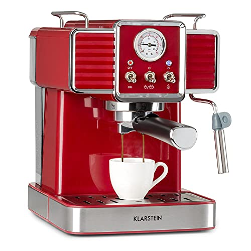 KLARSTEIN Gusto Classico - Macchina per Caffè Espresso, Macchina con Filtro, 1350 W, 20 Bar, Serbatoio Acqua: 1,5 L, Griglia Raccogligocce Rimovibile in Acciaio, Rosso
