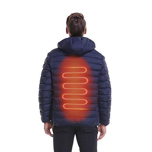 Verwarmingsjas met USB-oplaadkabel, verwarming, elektrische mantel, uniseks, winddicht, voor skiën – fiets en motorfiets (zonder powerbank) XXXL Blauw