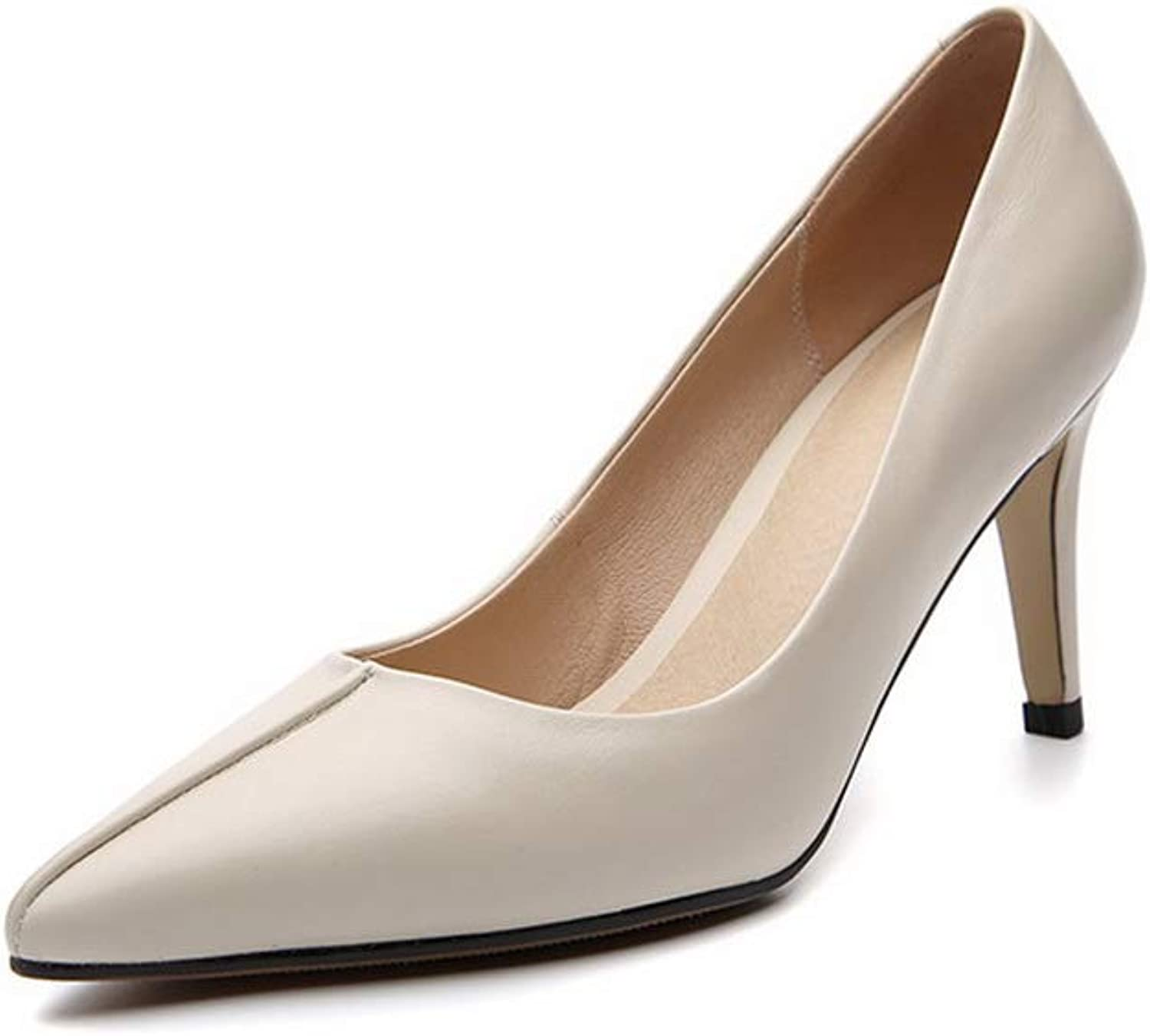 AdeeSu Womens Solid Smooth Leather Pleated Urethane Pumps shoes SDC06059