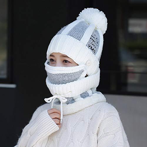 Way bocke Bavaglino per cappelli da Donna, Autunno e Inverno, Doppio Cappello, Set di tre pezzi, Resistente al Freddo e Caldo, adatto per lo Sci Sportivo all'aperto,Blanco