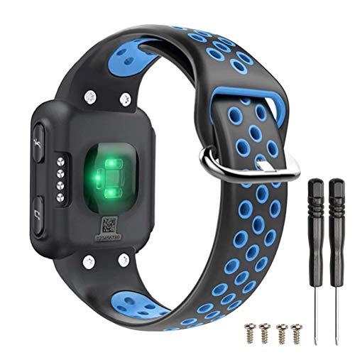 T-BLUER Watch Band Compatible for Garmin Forerunner 35 Correa,Accesorio de Pulsera de Pulsera de reemplazo de Silicona Transpirable Compatible con Garmin Forerunner 35 Reloj Inteligente,Negro Azul