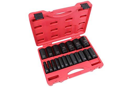 K Tool International 1/2' Drive SAE Deep Impact Socket Set; 19 Pieces, Heat Treated Chrome-Moly Steel, Laser Engraved; KTI33202