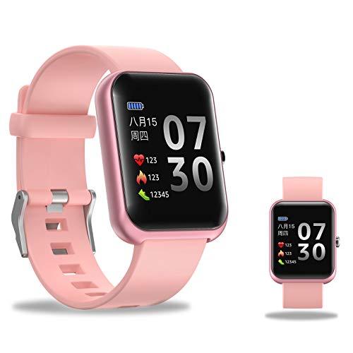 RNNTK 1.3in Hd-Bildschirm Smartwatch,Fitnessuhr Mit Schlafen Pulsschlag Blutdruckmonitor Zum Herren Damen,Schritt Kalorienzähler Sportuhr Zum Android IOS-Rosa