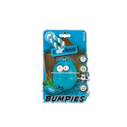 COOCKOO Dog Toy BUMPIES Regular W. Rope, Mint 7-16KG Caribbean-Blue 85x68x58mm
