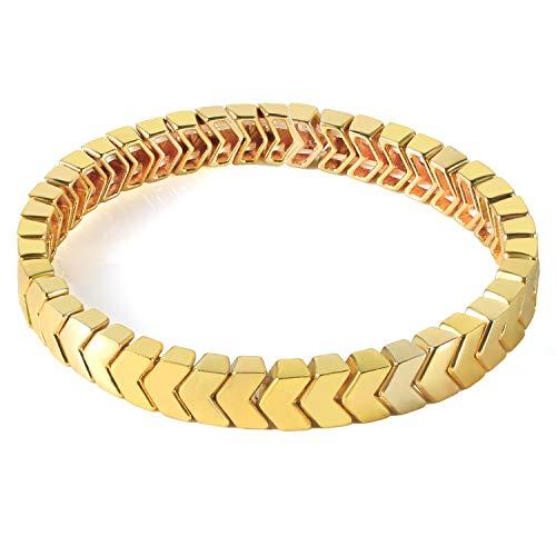 KANYEE Emaille Pfeil geformte Armbänder Goldlegierung Perlen Fliesen Stretch Armbänder Armreifen Freundschaft Paare Armreifen, Gold