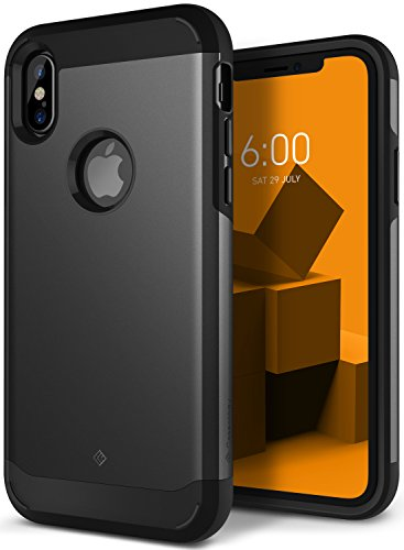 Caseology for iPhone XS Case [Legion Series] - Slim Heavy Duty Protective Armor Dual Layer Tough Design Case for iPhone XS 5.8 (2018) & iPhone X (2017) - Black