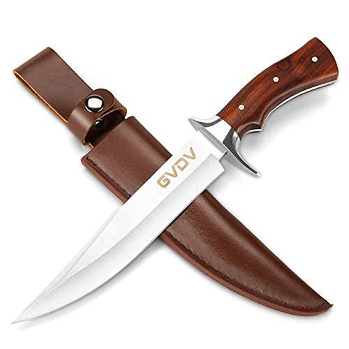 GVDV Couteau de Chasse avec Lame en 440C Acier Inoxydable - Couteau à Lame Fixe, Couteau de Survie à Poignée Bois de Rose pour Camping, Chasse, Randonnée