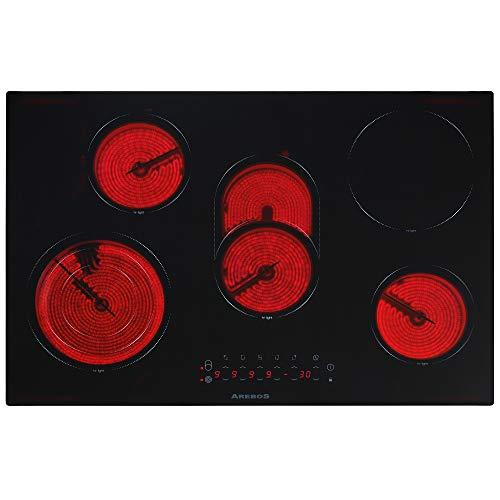 Plaque de cuisson electrique en vitrocéramique avec 5...