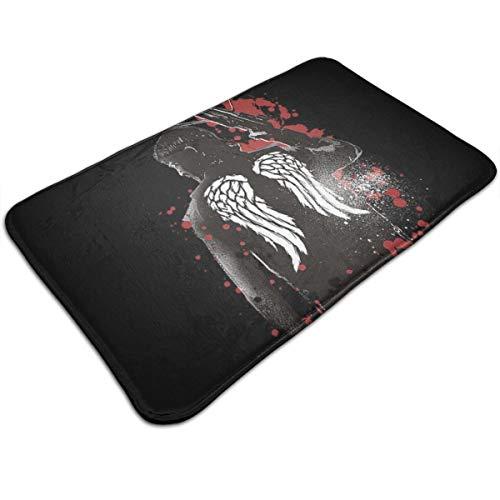 HUTTGIGH Walking Dead Fußmatte Daryl Dixon Flügel und Armbrust Eingang rutschfeste Badematte Küche Boden Teppich Matte 49,5 x 80,9 cm saugfähige Fläche Teppiche