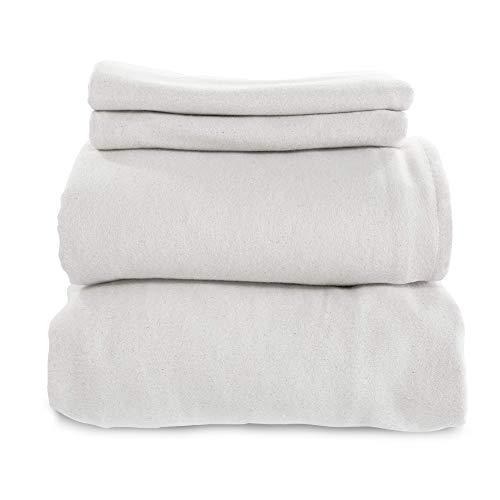 Whisper Organics Certified Organic Cotton Flannel Sheet Set (Queen, White)