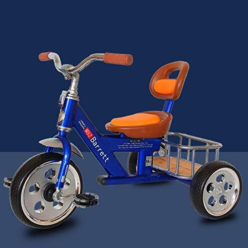 Triciclo de ciclismo antiguo, bicicleta para niños al aire libre, cinturón de acero con alto contenido de carbono, canasta trasera, triciclo para niños y niñas, 2-3-4-5-6 años