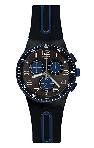 Swatch Power Tracking Quartz Silicone Strap, Black, 20 Casual Watch (Model: SUSB406)