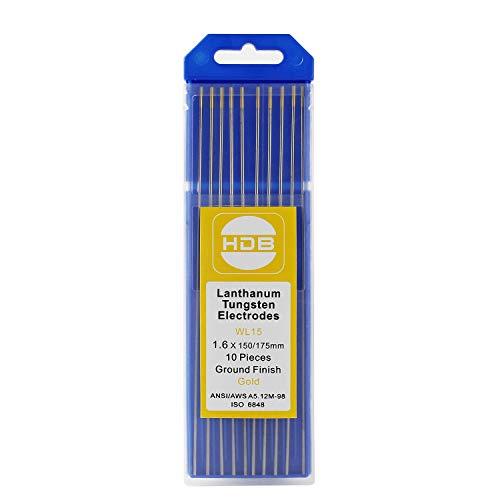 Forever Speed 10 X Electrodos de Tungsteno agujas de Tungsteno WL-15 Electrodo de Tungsteno Aguja 1,6 x 175mm de Oro