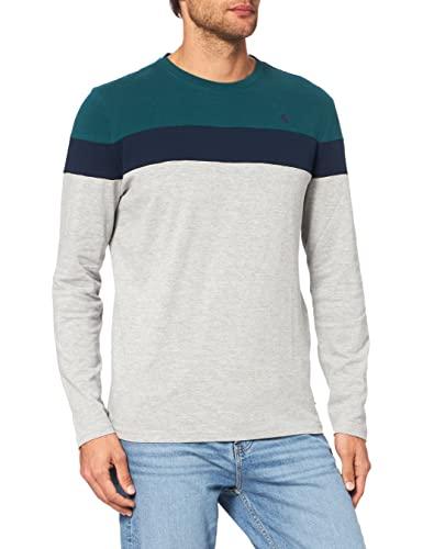 Springfield Camiste Manga Larga ORGANICO Tricolor Camiseta, Turquesa/Pato, XL para Hombre