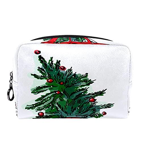 Neceser de Maquillaje Estuche Escolar para Cosméticos Bolsa de Aseo Grande,Árbol de Navidad de Coche Rojo