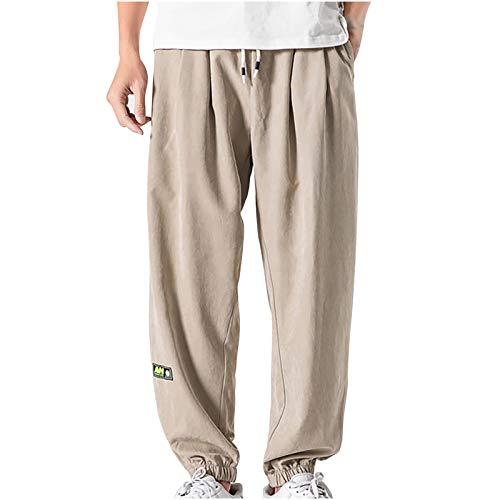 Winkey - Pantalones cargo para hombre, informales, de trabajo, con bolsillos, holgados Color caqui-e. XL