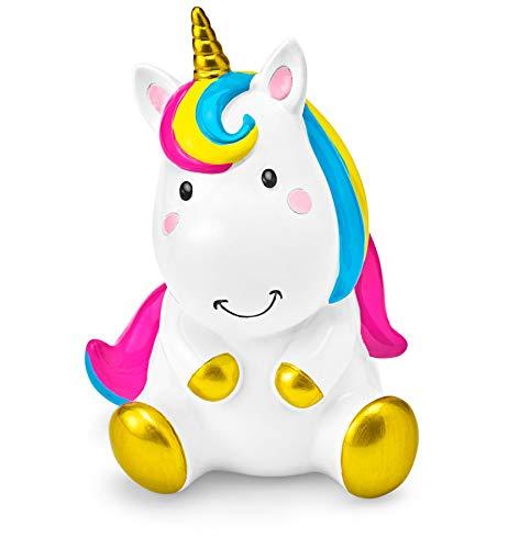 Mousehouse Gifts - Hucha Infantil con Forma de Unicornio - con Crin Multicolor - Unisex - Blanco - 9 x 9 x 14 cm