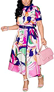 QGTDRESS Sexy Printed Short-Sleeved Dress Fashion Clothing, Size:S(As Show) (Color : As Show)