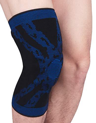 AIEOE 2er Set Kniebandage Knieschoner Rutschfest Kompression Knee Support Elastische Atmungsaktive Knieschützer Knieorthese mit Y-förmige Federstütze