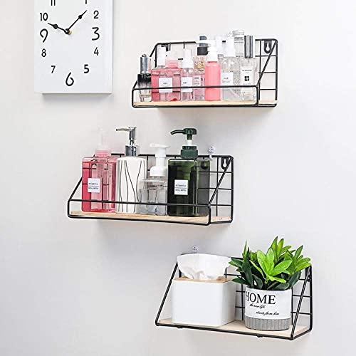 DGDF Estante colgante de pared, estante de exhibición, estante decorativo para el hogar, utilizado en sala de estar, oficina, dormitorio, baño, cocina, 3 piezas