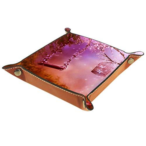 YATELI Caja de Almacenamiento pequeña, Bandeja de Valet para Hombre,Columpio Forestal,Organizador de Cuero para Llaves de Caja de Monedas