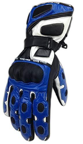 Genuine Leather Motorcycle Gloves Cowhide Biker Riding Hard Knuckle Gloves Mens (SportX, X-Large)