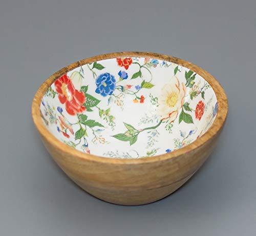 Serving Bowls Pack of 1 White Enamel Wooden for Snacks Dry...