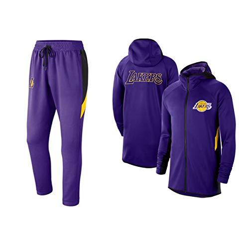 Haoshangzh55 Baloncesto Masculino con Capucha Traje # Lakers Sudadera Flojos Baloncesto Sudadera Chándales, De Deporte del Baloncesto,S(160~165cm)