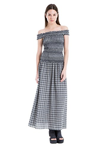 Max Studio Off-The-Shoulder Plaid Maxi Dress