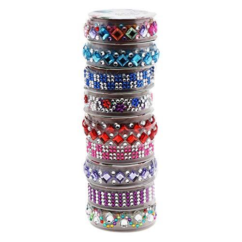 Milageto Paquete de 6 rollos de pegatinas con diamantes de imitación de diferentes formas y diamantes de imitación