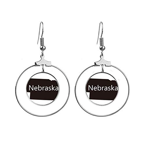 Nebraska Amerika USA Map Silhouette Oorbellen Dangle Hoop Sieraden Drop Cirkel