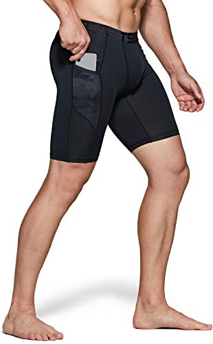 TSLA Men's Athletic Compression Shorts, Sports Performance Active Cool Dry Running Tights, Athletic Pocket(mus47) - Black & Woodland Black, Medium