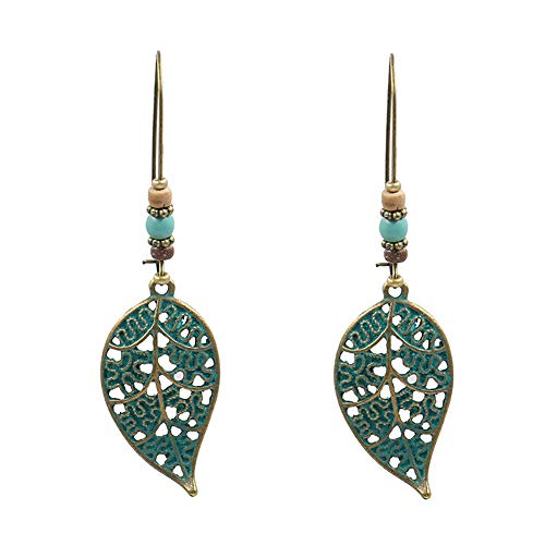 Moares Retro Hollow Leaf Pendant Faux Turquoise Beaded Earrings Women Statement Jewelry Cyan