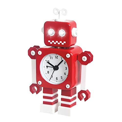 Diskary Reloj Despertador en Forma de Robot de Acero Inoxidable, Silencioso, con Ojos Que se Iluminan y Brazos Giratorios, un Regalo Ideal para Niños y Niñas (Rojo Blanco)